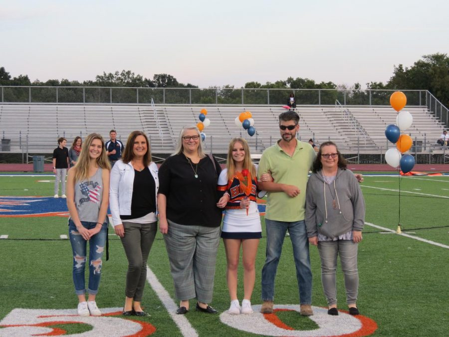 Savvy Parker is honored during the Senior Night ceremony before the football game.