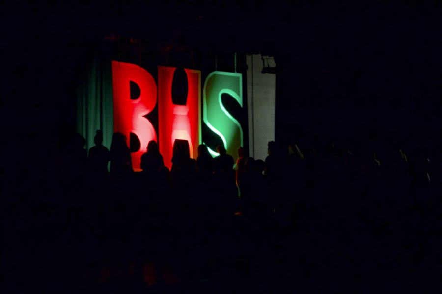 Large letters spell out BHS before performances begin.